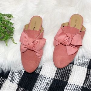Lucky Brand coral suede bow Florean mule Slide
